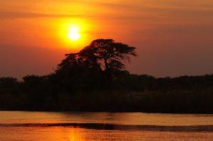 Tramonto sulDelta dell'Okavango