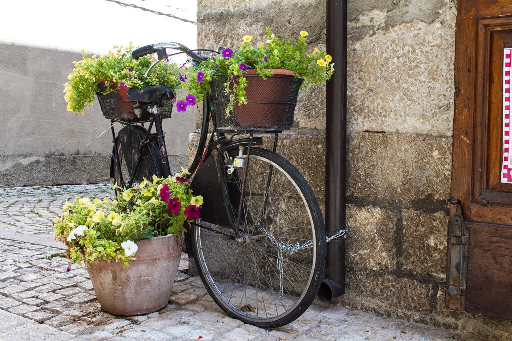 immagine di una bicicletta con vasi fioriti a Pescasseroli, in Abruzzo