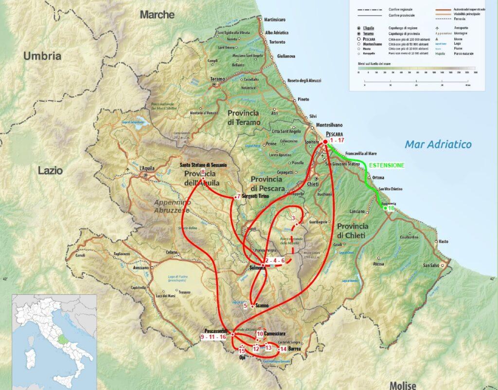 mappa dell'itinerario del viaggio in Abruzzo